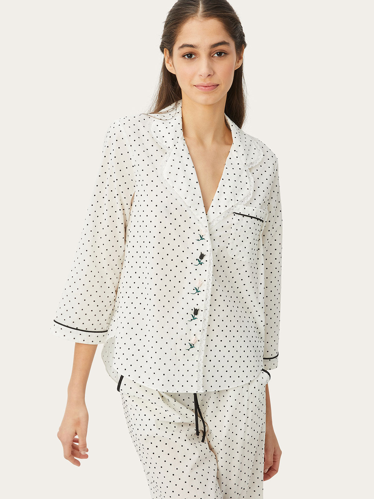 Kinsley Night Shirt in Primrose Dot By Morgan Lane