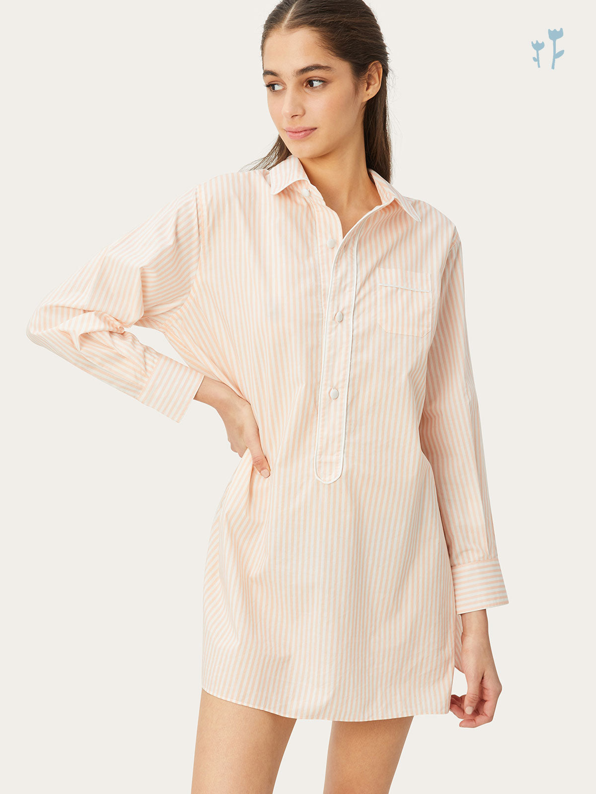 Linnet Night Shirt in Petal Stripe By Morgan Lane