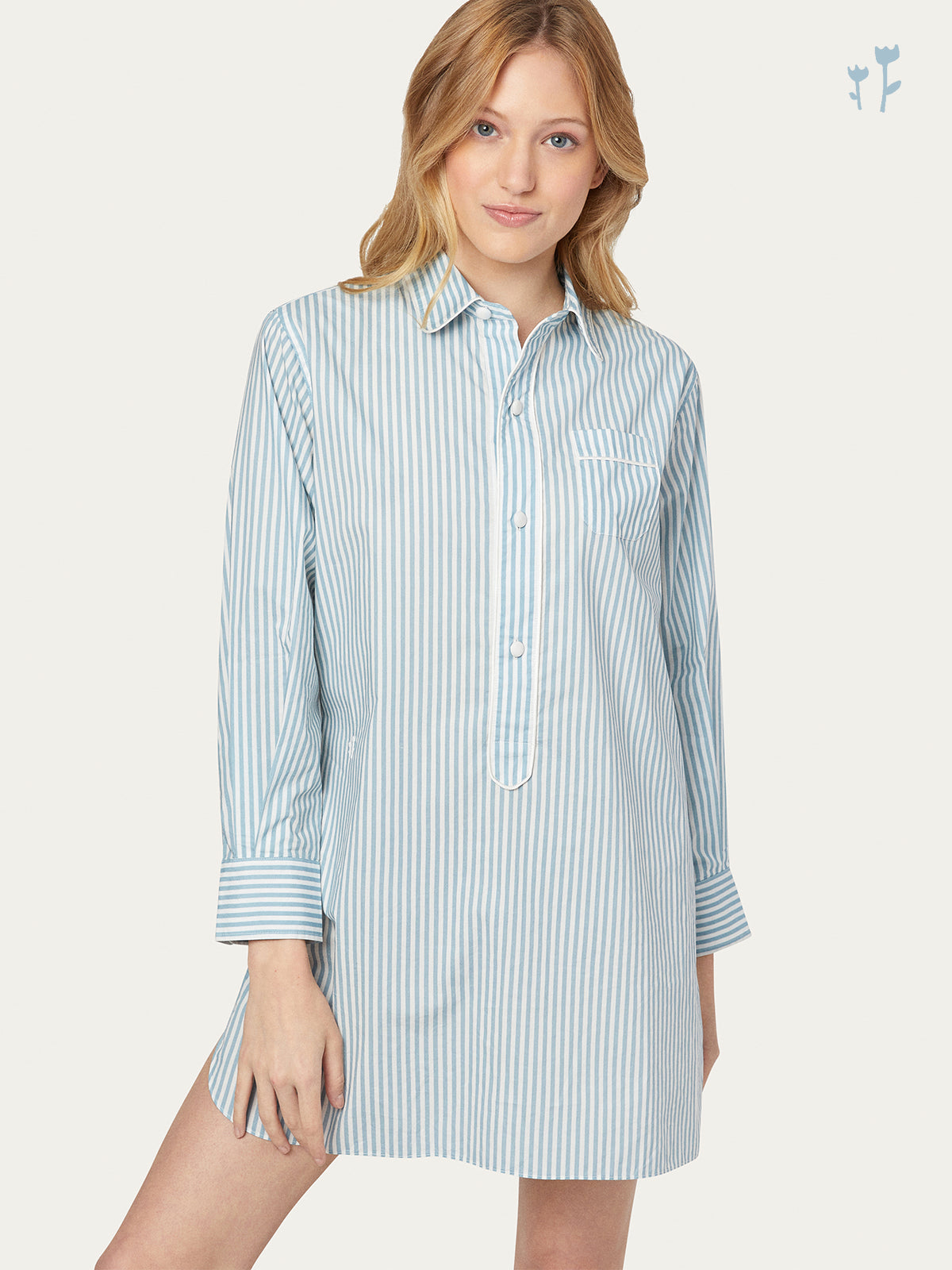 Linnet Night Shirt in Sky Stripe By Morgan Lane