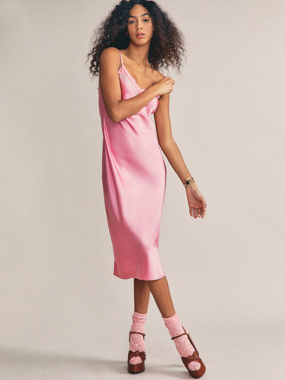 Stella Slip Dress in Millenial Pink By Morgan Lane