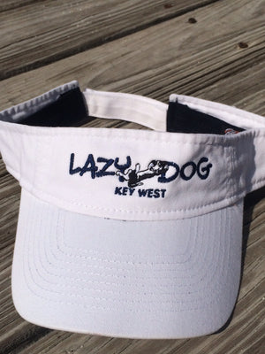 White Lazy Dog Brand  Washed Cotton Twill Visor with Navy underbill. Velcro closure.