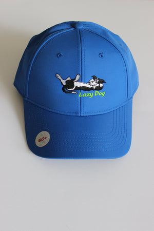 "Royal Blue Lazy Dog Brand Performance Hat with black and white border collie and green ""Lazy Dog"" lettering embroidered in center of hat. Hat is nylon with black underbill and sweatband. Hat offers UPF 50+ sun protection"