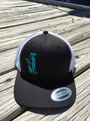 Black Lazy Dog FlexFit Adjustable cap with Paddle Board Girl and Dog silhouette embroidered in Seafoam green.