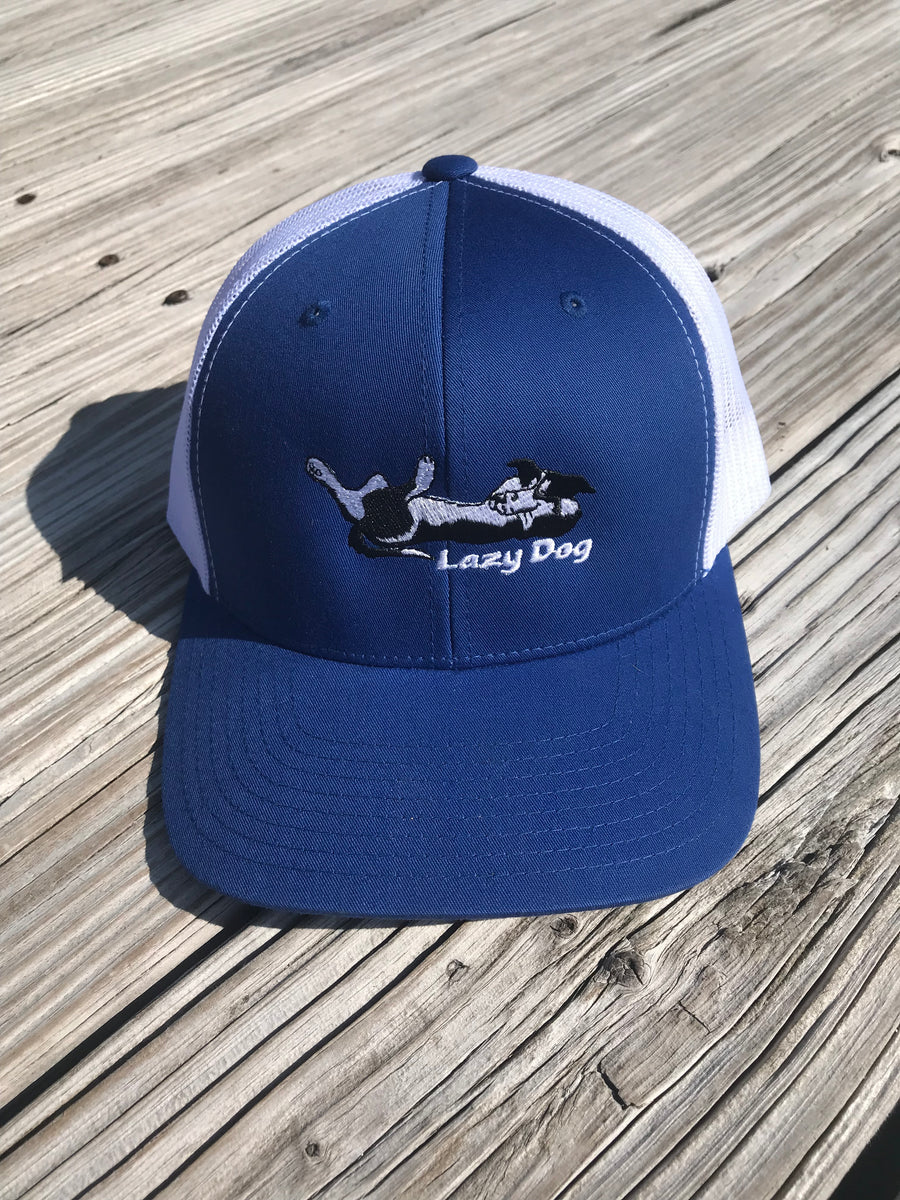 "Lazy Dog Adjustable Blue Hat with white mesh back with reclining dog logo with the words ""Lazy Dog"" under dog logo"
