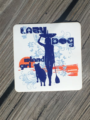Square Lazy Dog Sticker with orange faded sunset and blue silhouette of paddle girl and her dog with light blue flower swirl embellishments