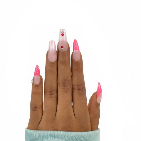 Coffin and stiletto press on nail shapes by all things chic