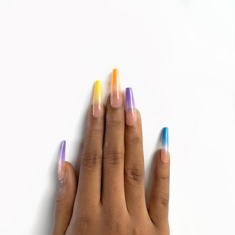 Multicoloured press on nails by all things chic