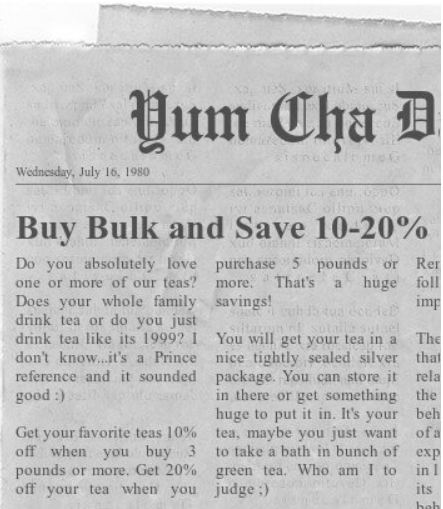 Buy bulk tea and save 10% to 20%