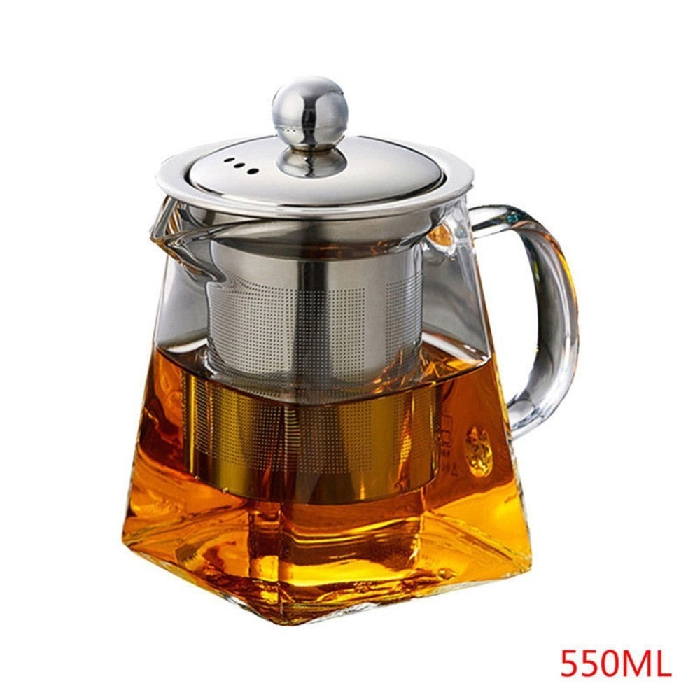 550 ml Glass Square Teapot High Temperature Resistant