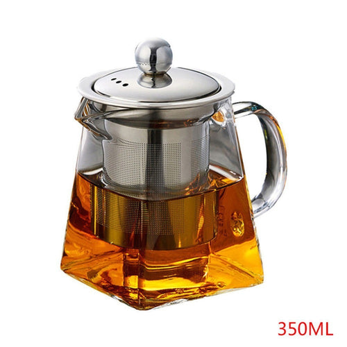 350 ml Glass Square Teapot High Temperature Resistant Loose Leaf Flower Tea Coffee Pot Stainless Steel Infuser Filter
