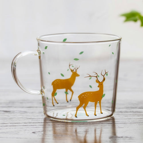 Japanese Sakura Glass Coffee Mug Cute Cat Deer Rabbit Tea Mug Heat Resistant Glass Tea Cup