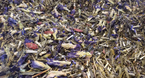 Blue Voodoo | Sencha Green Tea, butterfly pea flower, goji berries, lemon grass, pomegranate, blue cornflower blossoms
