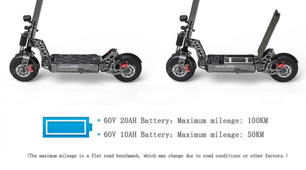 "Mercane MX60 Smart Electric Scooter 2400W 60km/h 100km 11"" Tire Dual Brake-Pro eRiders"