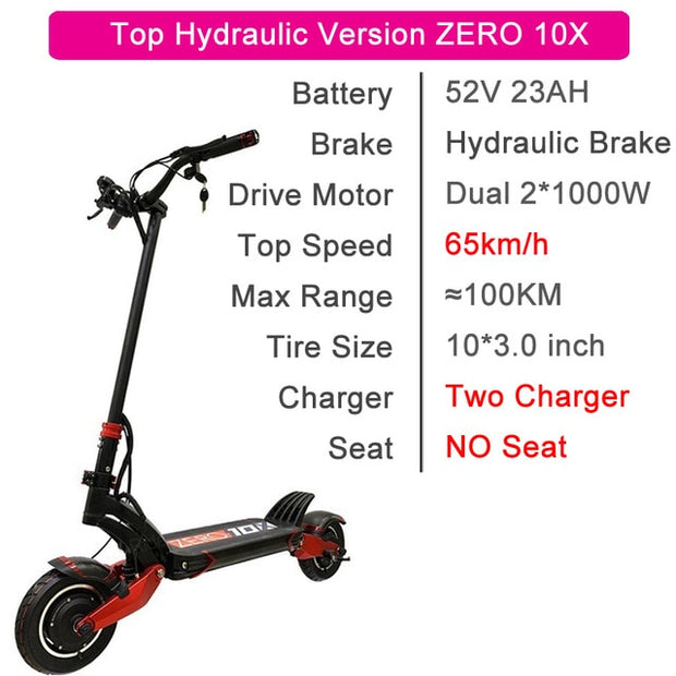 zero electric scooter 10inch  52V 2000W double dual motor scooter