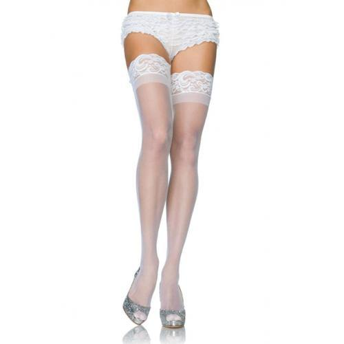 Leg Avenue Stay Up Sheer Thigh Highs - White.