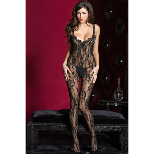 Music Legs Music Legs Kanten Catsuit Open Rug - Zwart - Lovematic.ie
