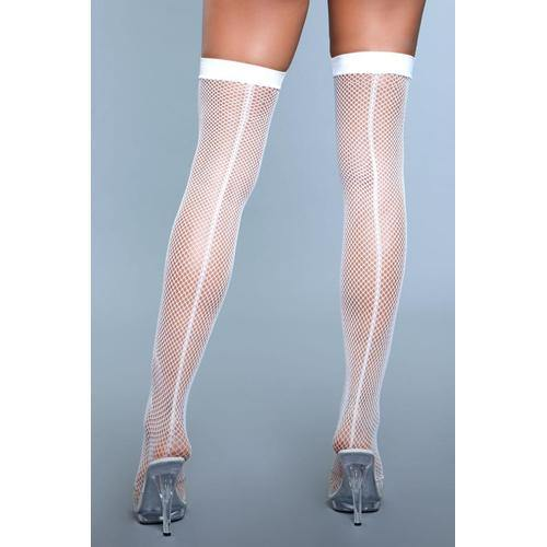 Be Wicked Great Catch Fishnet Backseam Stockings - White - Lovematic.ie