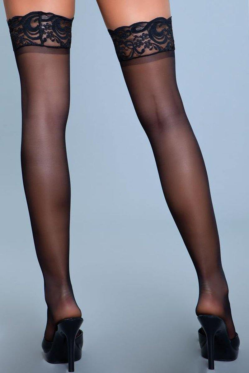 Be Wicked Lace Over It Hold-Up Stockings - Black.