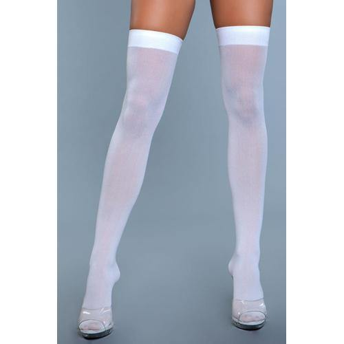 Be Wicked Thigh High Nylon Stockings - White.