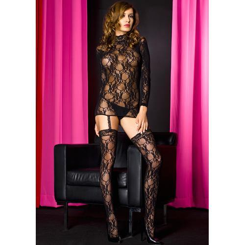 Music Legs Lace garter set with keyhole back and attached stockings BLACK - Lovematic.ie