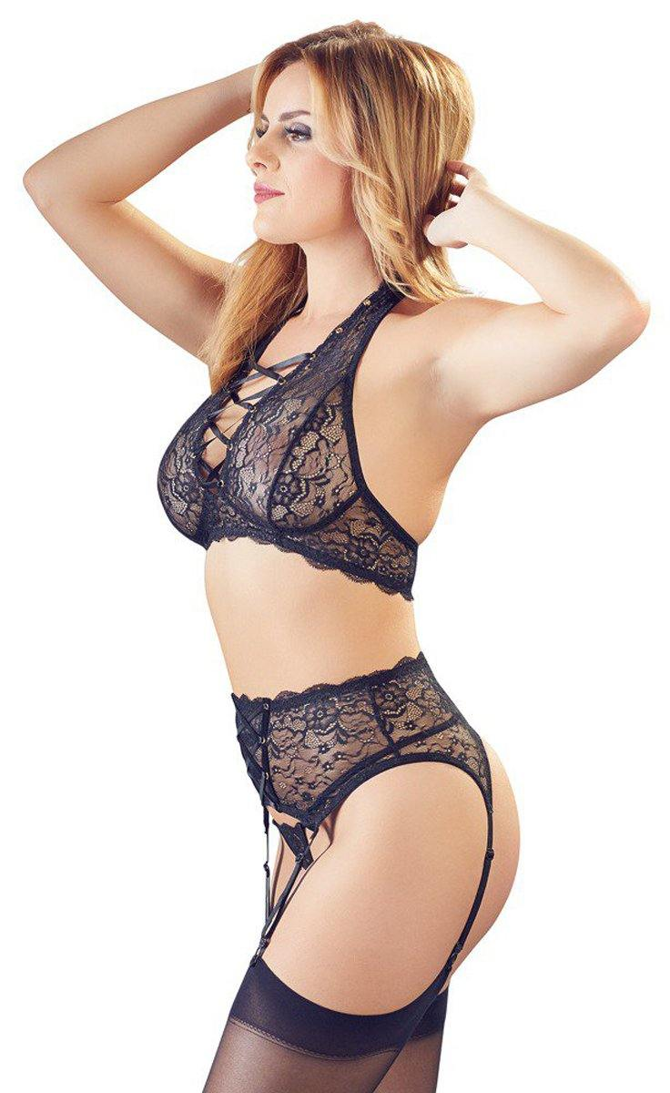 Cottelli Collection 3-Piece Lace Suspender Set - Lovematic.ie