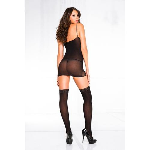 Music Legs Side lace mini with sheer center panel and attached stockings BLACK.