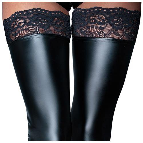 Noir Handmade Wetlook Stockings With Lace.