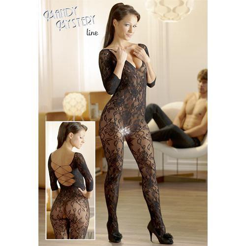 Mandy mystery Line Catsuit made of black floral lace - Lovematic.ie