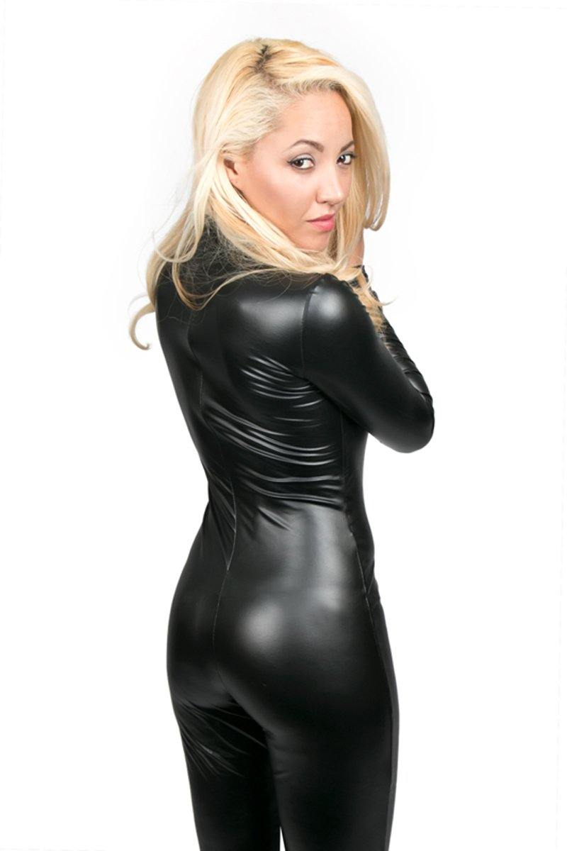 Noir Handmade Wetlook Catsuit With Long Sleeves.