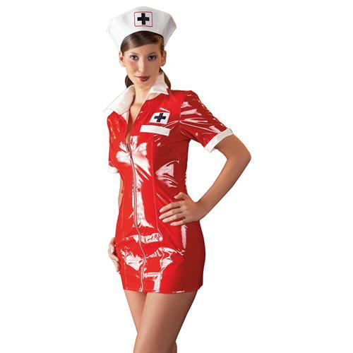 Black Level Vinyl Nurse Dress red.