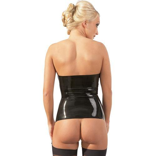 The Latex Collection Strapless Latex Garter Top.