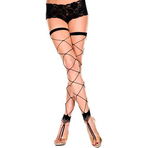 Music Legs Footless fishnet stockings with toe ring.