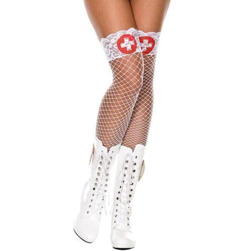 Music Legs White Fishnet Stockings With Red Cross - Lovematic.ie