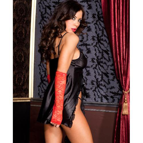 Music Legs Satin nightdress with lace trim slit and satin bow.