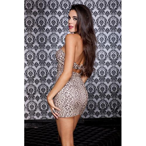 Music Legs Deep V-neck halter dress with leopard print - Lovematic.ie