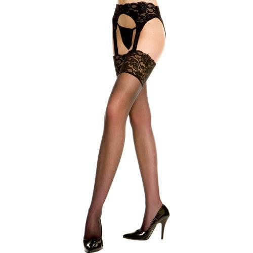 Music Legs Lace garterbelt with stockings BLACK - Lovematic.ie