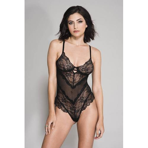 Music Legs Flower Lace And Mesh Body - Black.