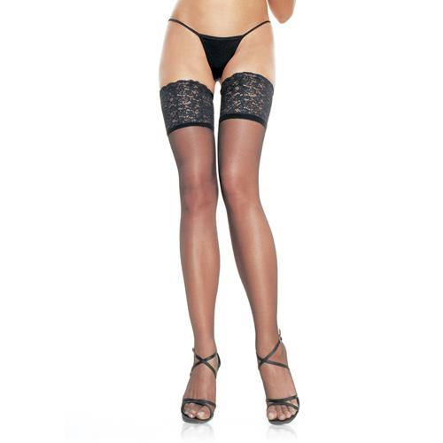 Leg Avenue Stay Up Thigh Highs - Black.