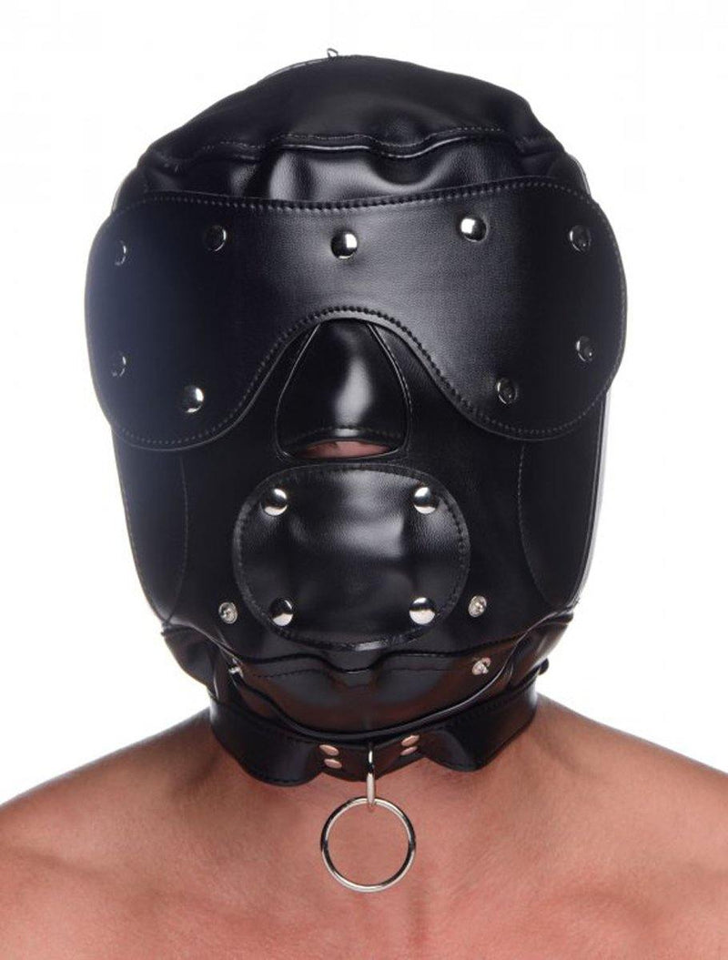 Master Series Muzzled Universal BDSM Hood with Removable Muzzle - Lovematic.ie