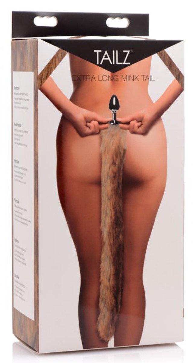 Tailz Extra Long Mink Tail Metal Anal Plug.