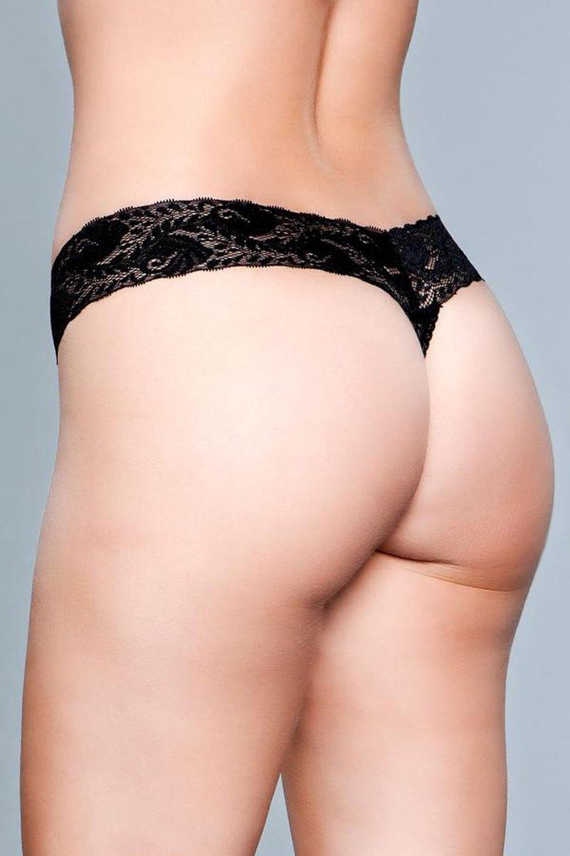 Be Wicked V-Cut Lace Panties - Black.
