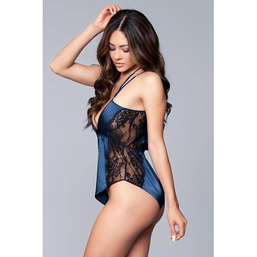 Be Wicked Sarai Satin Romper - Navy.