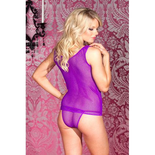 Be Wicked Net Tank Top With Matching Bottom - Purple.