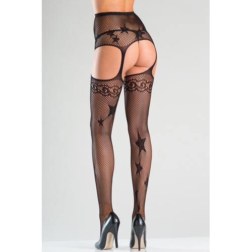 Be Wicked Suspender Pantyhose With Stars - Lovematic.ie