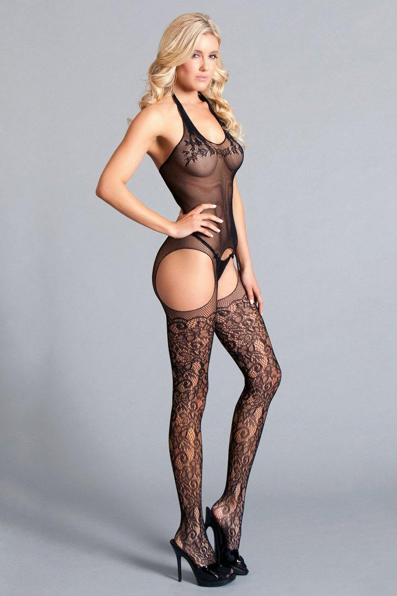 Be Wicked Halter Suspender Bodystocking With Lace - Lovematic.ie