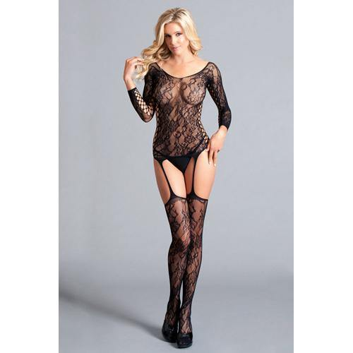 Be Wicked Long Sleeved Suspender Body Stocking - Lovematic.ie