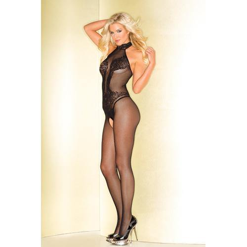 Be Wicked Fishnet Catsuit With Lace Body Print.