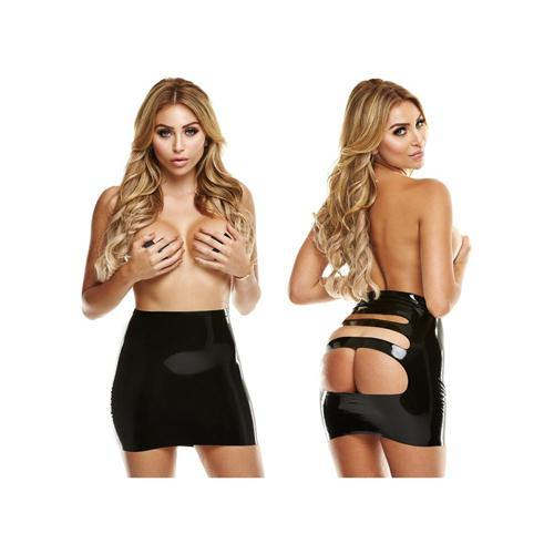 LATEXWEAR Latex Mini Skirt With Open Back - Black - Lovematic.ie