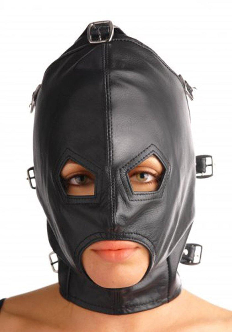 Strict Leather Asylum Leather Hood with Removable Blindfold and Muzzle.