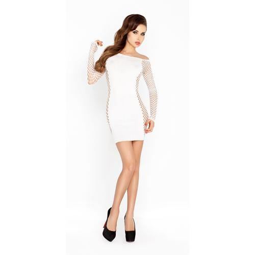 Passion White Mini Dress With Mesh Sleeves.